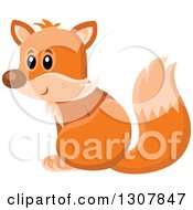 Clipart Of A Cute Orange Fox Sitting And Facing Left Royalty Free Vector Illustration by visekart