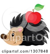 Clipart Of A Cute Hedgehog With A Red Apple Stuck On His Back Royalty Free Vector Illustration