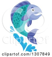Clipart Of A Leaping Salmon Fish Royalty Free Vector Illustration