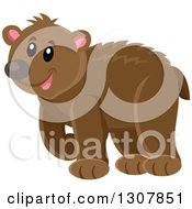 Clipart Of A Cute Happy Bear Walking Royalty Free Vector Illustration
