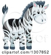 Clipart Of A Cute Wild African Zebra Royalty Free Vector Illustration