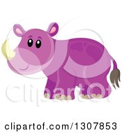Clipart Of A Cute Purple Wild African Rhino Royalty Free Vector Illustration
