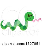Clipart Of A Cute Wild African Green Snake Royalty Free Vector Illustration