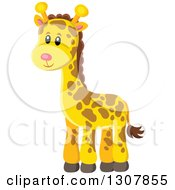 Clipart Of A Cute Wild African Giraffe Royalty Free Vector Illustration