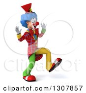 3d Clown Character Walking To The Right