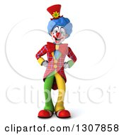 Clipart Of A 3d Clown Character With Hands On His Hips Royalty Free Illustration