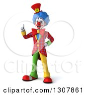 3d Clown Character Holding Up A Finger