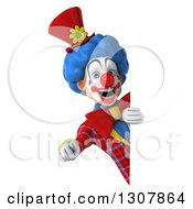 Clipart Of A 3d Clown Character Pointing Outwards Around A Sign Royalty Free Illustration