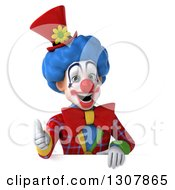 3d Clown Character Giving A Thumb Up Over A Sign