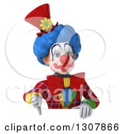 3d Clown Character Giving A Thumb Down Over A Sign