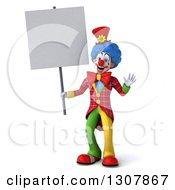 3d Clown Character Waving And Holding A Blank Sign
