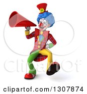 3d Clown Character Walking And Announcing With A Megaphone