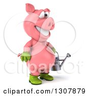 Clipart Of A 3d Happy Gardener Pig Facing Right And Holding A Watering Can Royalty Free Illustration by Julos