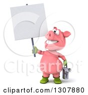 Clipart Of A 3d Happy Gardener Pig Holding A Watering Can And A Blank Sign Royalty Free Illustration by Julos