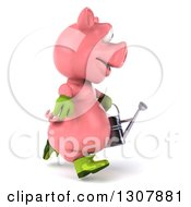 Clipart Of A 3d Happy Gardener Pig Running To The Right And Holding A Watering Can Royalty Free Illustration