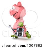 Clipart Of A 3d Happy Gardener Pig Running To The Left And Holding A Watering Can Royalty Free Illustration