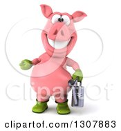 Clipart Of A 3d Happy Gardener Pig Presenting And Holding A Watering Can Royalty Free Illustration