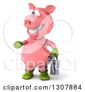 Clipart Of A 3d Happy Gardener Pig Presenting To The Left And Holding A Watering Can Royalty Free Illustration