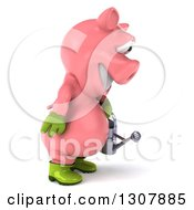 Clipart Of A 3d Happy Gardener Pig Holding A Watering Can And Facing Right Royalty Free Illustration