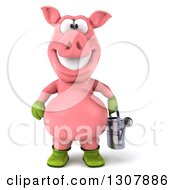 Clipart Of A 3d Happy Gardener Pig Holding A Watering Can Royalty Free Illustration