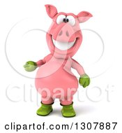 Clipart Of A 3d Happy Gardener Pig Presenting Royalty Free Illustration by Julos