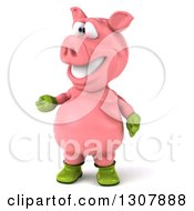 Clipart Of A 3d Happy Gardener Pig Presenting To The Left Royalty Free Illustration by Julos