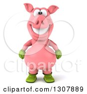 Clipart Of A 3d Happy Gardener Pig Royalty Free Illustration by Julos