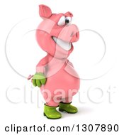 Clipart Of A 3d Happy Gardener Pig Facing Right Royalty Free Illustration