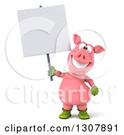 Clipart Of A 3d Happy Gardener Pig Holding A Blank Sign Royalty Free Illustration