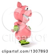 Clipart Of A 3d Happy Gardener Pig Walking To The Right Royalty Free Illustration by Julos