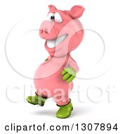 Clipart Of A 3d Happy Gardener Pig Walking To The Left Royalty Free Illustration