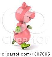Clipart Of A 3d Happy Gardener Pig Running To The Right Royalty Free Illustration by Julos
