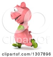 Clipart Of A 3d Happy Gardener Pig Running To The Left Royalty Free Illustration by Julos