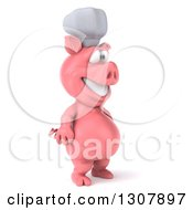 Clipart Of A 3d Happy Chef Pig Facing Right Royalty Free Illustration by Julos