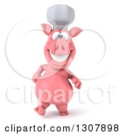 Clipart Of A 3d Happy Chef Pig Walking Royalty Free Illustration by Julos