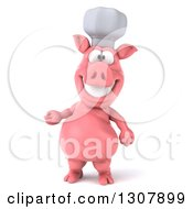 Clipart Of A 3d Happy Chef Pig Presenting Royalty Free Illustration by Julos