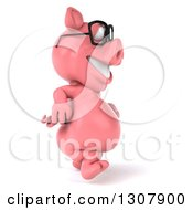 Clipart Of A 3d Happy Bespectacled Pig Walking To The Right Royalty Free Illustration