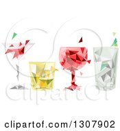 Clipart Of A Row Of Geometric Alcoholic Beverages Royalty Free Vector Illustration by BNP Design Studio
