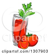 Clipart Of A Bloody Mary Drink With Tomatoes And Celery Royalty Free Vector Illustration