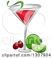 Clipart Of A Cosmopolitan Cocktail With Lime And Cranberries Royalty Free Vector Illustration by BNP Design Studio