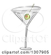 Clipart Of A Martini Cocktail With A Green Olive Royalty Free Vector Illustration by BNP Design Studio