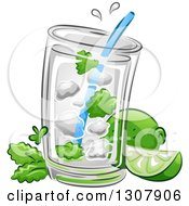Clipart Of A Mojito Cocktail Drink With Limes And Mint Royalty Free Vector Illustration