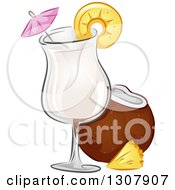 Clipart Of A Pina Colada Alcoholic Drink With Coconut And Pineapple Royalty Free Vector Illustration by BNP Design Studio