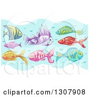 Clipart Of Sketched Tropical Fish In Water With Bubbles Royalty Free Vector Illustration