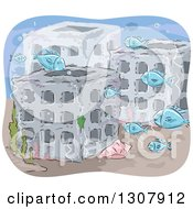 Clipart Of A Sketched Artificial Reef And Fish Royalty Free Vector Illustration