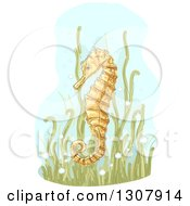Clipart Of A Sketched Yellow Seahorse In Seaweed Royalty Free Vector Illustration