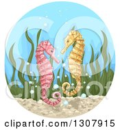 Clipart Of Sketched Pink And Yellow Seahorses With Seaweed And Bubbles In A Circle Royalty Free Vector Illustration