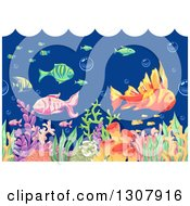 Clipart Of An Underwater Scene Of Sketched Fish And Corals With Waves Above Royalty Free Vector Illustration