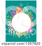 Clipart Of A White Bubble Frame With Corals And Fish Over Turquoise Royalty Free Vector Illustration