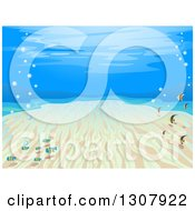 Clipart Of A Sandy Ocean Floor With Tropical Fish And Bubbles Royalty Free Vector Illustration